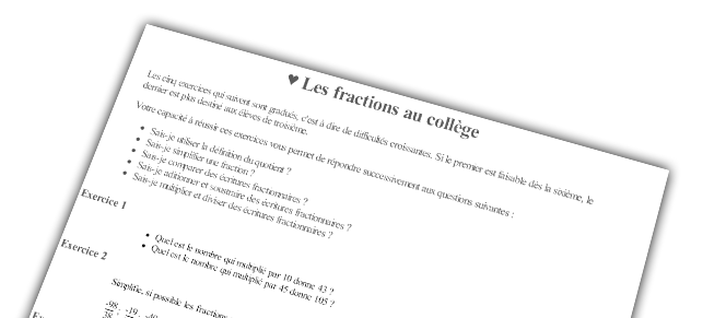 Fractions, exercices du jour !